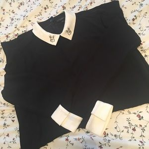 White Collared Black Dress with Rabbits
